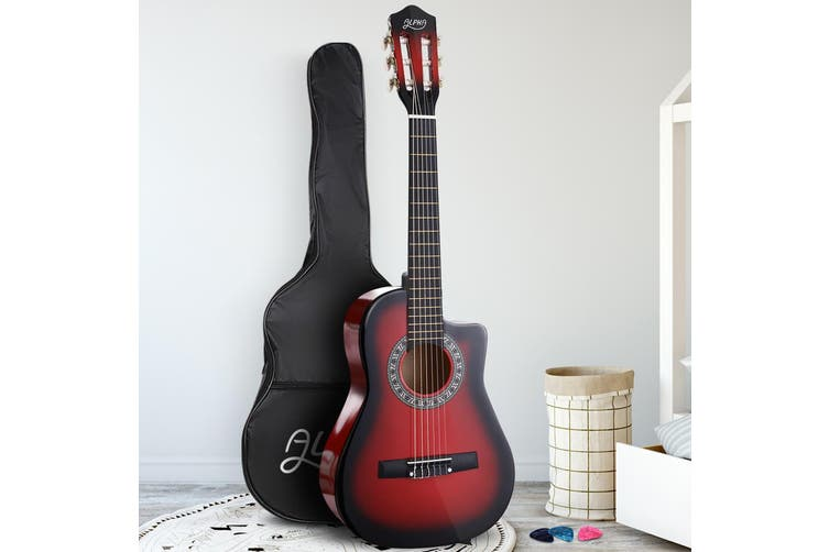 Alpha 34 Inch Guitar Classical Acoustic Cutaway Wooden Ideal Kids Gift Children 1/2 Size Red