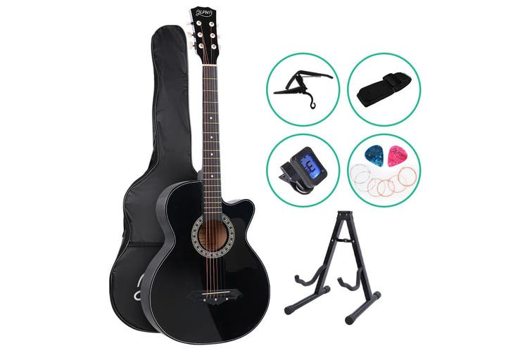 Alpha 38 Inch Wooden Acoustic Guitar Classical Folk Full Size Black Capo