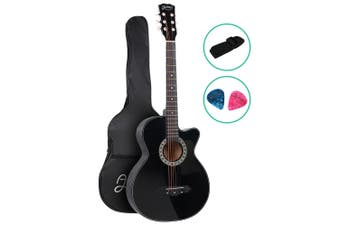 Alpha 38 Inch Acoustic Guitar Wooden Folk Classical Steel String Black