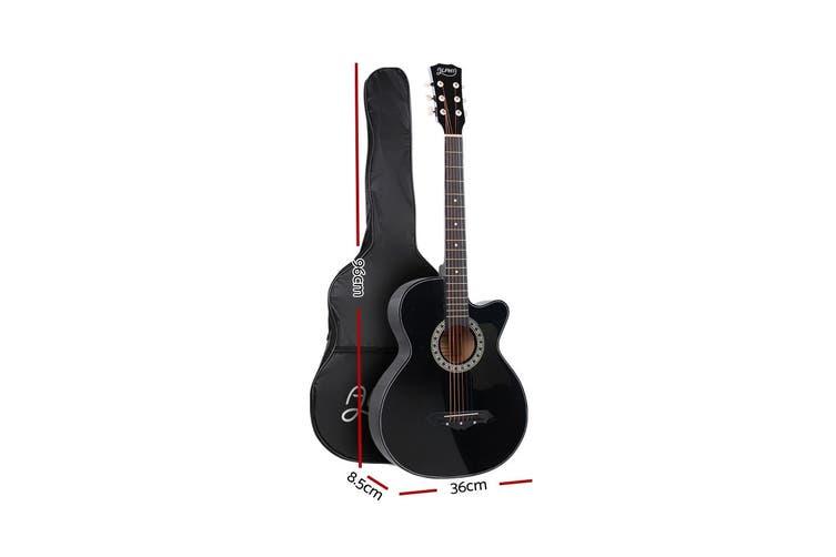 Alpha 38 Inch Acoustic Guitar Wooden Folk Classical Steel String Black