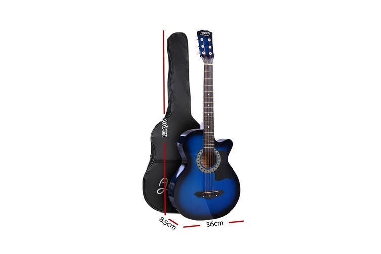 Alpha 38 Inch Wooden Acoustic Guitar Classical Folk Full Size Capo Blue