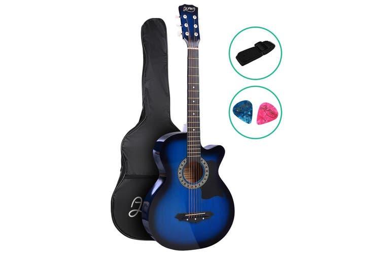 Alpha 38 Inch Acoustic Guitar Wooden Folk Classical Steel String Blue