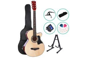 Alpha 38 Inch Wooden Acoustic Guitar Classical Folk Full Size Capo Tuner