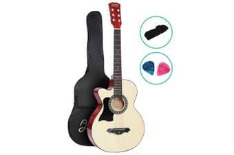 Alpha 38 Left Handed Acoustic Guitar Wooden Folk Classical Steel String