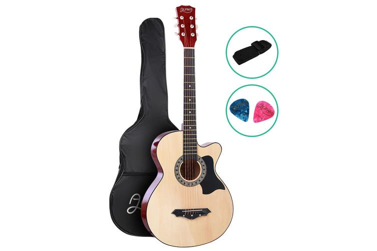 Alpha 38 Inch Acoustic Guitar Wooden Folk Classical Steel String Nature