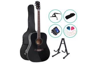 Alpha 41 Inch Wooden Acoustic Guitar Classical Folk Full Size Capo Black