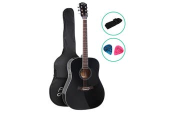 Alpha 41 Inch Acoustic Guitar Classical Wooden Folk Steel String Black