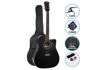 Alpha 41 Inch Electric Acoustic Guitar Wooden Classical EQ Capo Black
