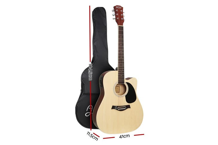 Alpha 41 Inch Electric Acoustic Guitar Wooden Classical EQ Capo Nature