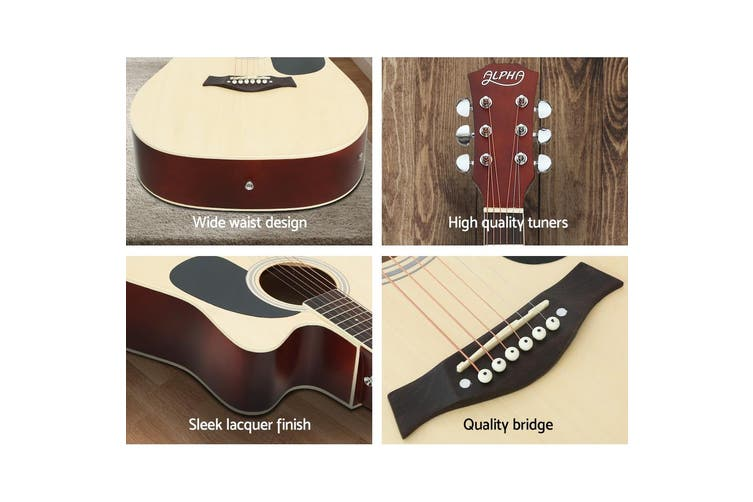 Alpha 41 Inch Electric Acoustic Guitar Wooden Classical 3/4 EQ Bass