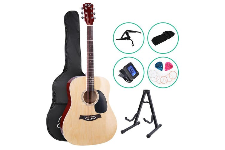 Alpha 41 Inch Wooden Acoustic Guitar Classical Folk Full Size Capo Blue