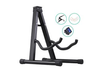 Alpha Folding Guitar Stand Electric Acoustic Bass  Floor Rack Holder Capo Tuner
