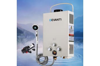 Devanti Tankless Gas Water Heater Outdoor 8L LPG Portable Pump Caravan Shower Wash Shower Head Winter & Summer Setting Beige