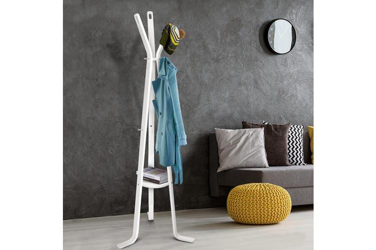 Artiss Coat Clothes Garment Rack Hanger Stand Wooden Display Organizer White