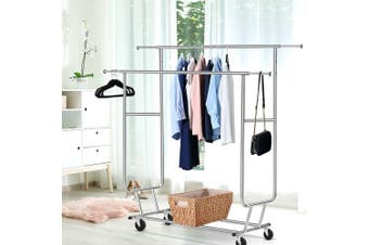 Artiss Clothes Rack Coat Stand Garment Rolling Double Rail Hanger Airer Portable