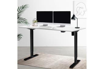 Standing Desk Height Adjustable Motorised Sit Stand Desk Riser Computer Laptop Table Home Office Workstataion 140cm Length Curved Desktop Black White Roskos I