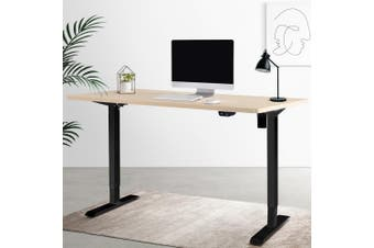 Artiss Motorised Electric Height Adjustable Standing Desk Computer Black White Oak