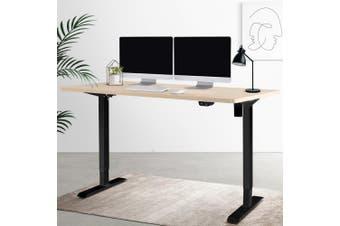 Height Adjustable Sit Stand Desk Standing Desk Motorised Table Riser Height Adjustable Electric Computer Table Laptop Desks Home Office 140cm Desktop Black Frame