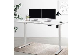 Standing Desk Sit Stand Table Riser Height Adjustable Motoroised Electric Computer Laptop Table Home Office Workstation Studio 140cm Length Curved Desktop White Roskos I
