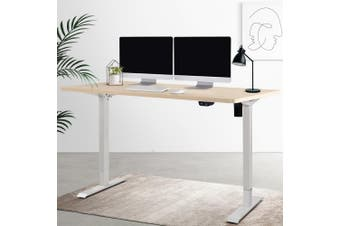 Artiss Motorised Electric Height Adjustable Standing Desk Computer White White Oak