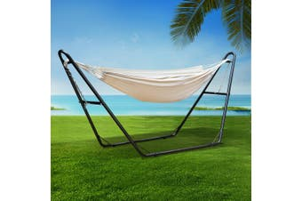 Gardeon Double Hammock Bed Steel Frame Stand Rope Swing Chair Outdoor Swing