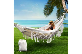 Gardeon Hanging Rope Hammock Swing Bed Tassel Camping Outdoor 2 Person