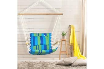 Gardeon Hanging Rope Hammock Chair Outdoor Camping Portable Swing Blue