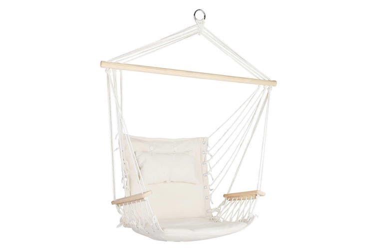 Gardeon Hanging Rope Hammock Chair Outdoor Camping Portable Swing Cream