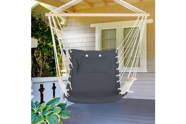 Gardeon Hanging Hammock Chair Outdoor Camping Rope Portable Swing Grey