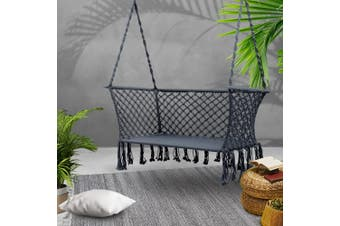 Gardeon Camping Hammock Chair Patio 2 Person Swing Double Portable Grey