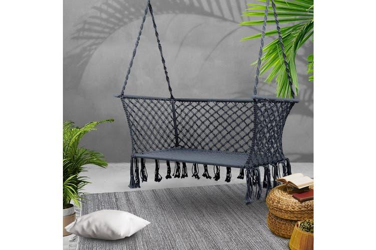 Gardeon Camping Hammock Chair Patio 2 Person Swing Double Portable Grey