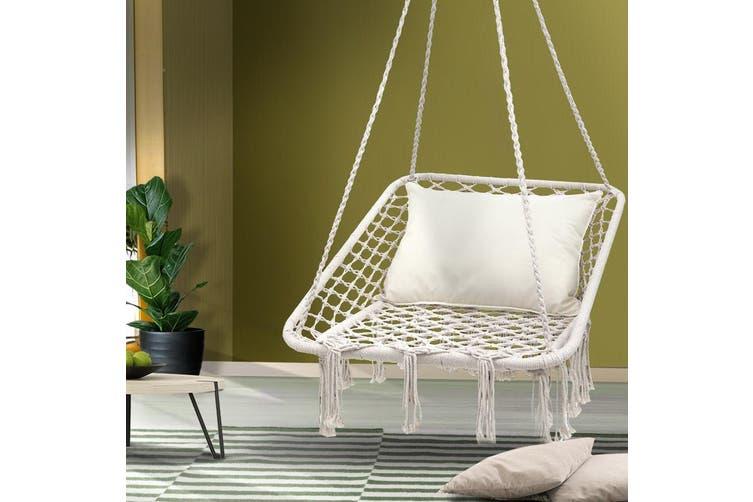 Gardeon Camping Hammock Chair Outdoor Hanging Rope Portable Swing Cream