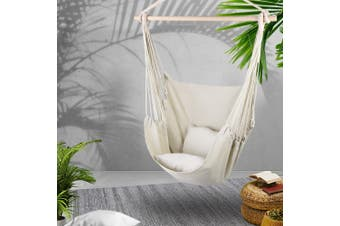 Gardeon Outdoor Hammock Chair Hanging Swing Indoor Pillow Camping Cream
