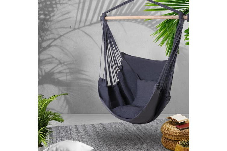 Gardeon Outdoor Tree Hammock Chair Swing Hanging Portable Camping Grey