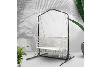 Double Swing Hammock Chair Stand Macrame Outdoor Bench Seat Chairs