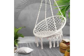 Gardeon Outdoor Swing Hammock Chair Indoor Rope Portable Camping Cream