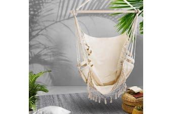 Gardeon Outdoor Tassel Hammock Chair Hanging Rope Portable Swing Cream
