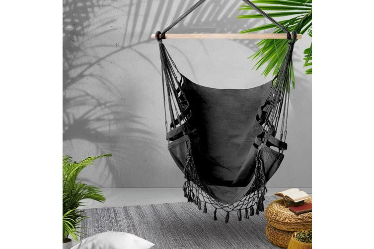 Gardeon Outdoor Tassel Hammock Chair Hanging Rope Portable Swing Grey