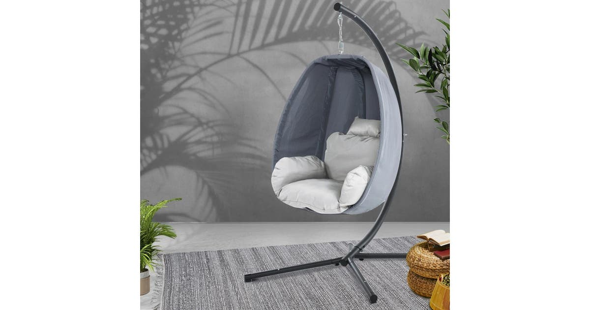 Gardeon Outdoor Swing Chair Egg Hammock Hanging Pod Canopy Seat Furniture Matt Blatt