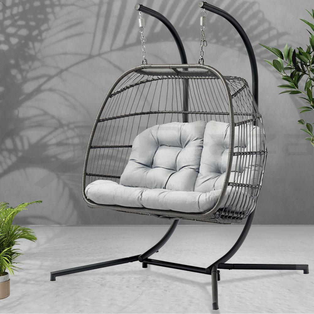 Picture of: Gardeon Outdoor Furniture Hanging Swing Chair Egg Hammock Wicker 2 Person Matt Blatt