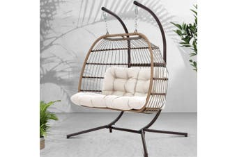 Gardeon Outdoor Furniture Hanging Swing Chair Stand Egg Hammock Wicker