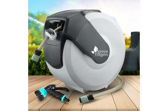 Greenfingers 20M Retractable Water Hose Reel Garden Spray Gun Storage AutoRewind