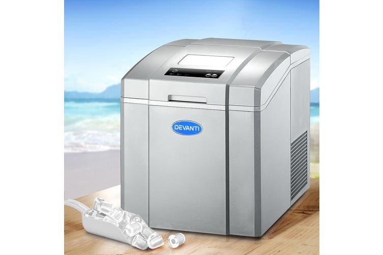 Devanti 3.2L Portable Ice Maker Commercial Machine Ice Cube Countertop Silver