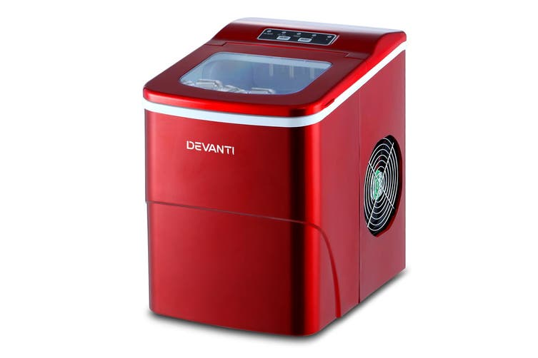 Devanti Portable Ice Maker Commercial Machine Ice Cube 2L  Bar Countertop Red