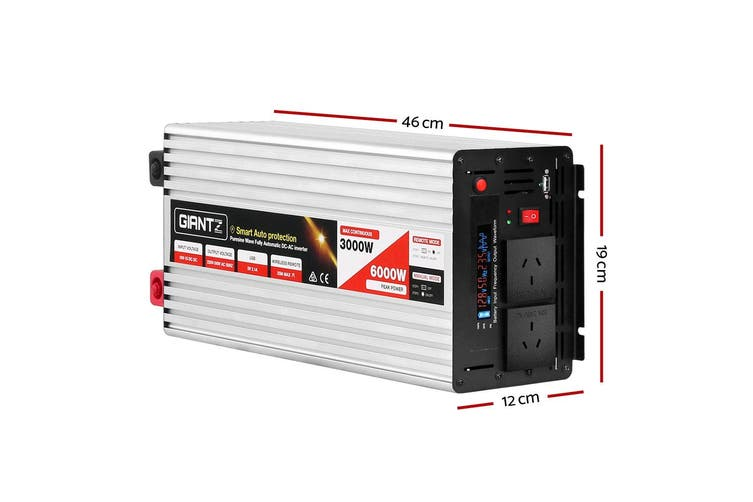 Giantz Power Inverter 3000W/6000W Pure Sine Wave 12V-240V Camping Boat Caravan