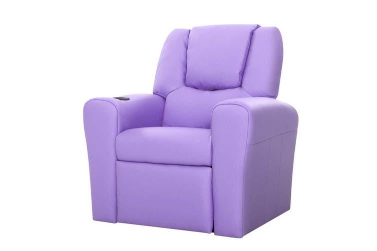 Keezi Luxury Kids Recliner Sofa Children Lounge Chair PU Couch Armchair Purple