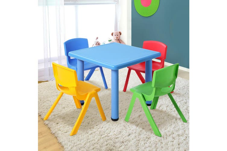 Keezi Kids Table and Chair Set Children Study Desk Furniture Plastic Blue 5PC