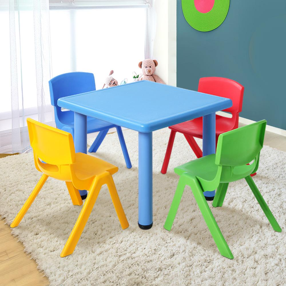 Picture of: Keezi Kids Table And Chairs Set Of 5 Blue Matt Blatt