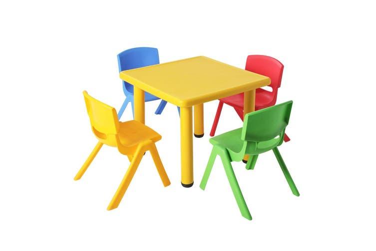 Keezi Kid Table and Chair Set Children Study Desk Furniture Plastic Yellow 5PC