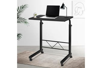Artiss Mobile Laptop Desk Computer Table Stand Adjustable Sit Stand Desk Wooden Bed Bedside Portable Sofa Bedroom Study Office Desks w/ Wheels Black